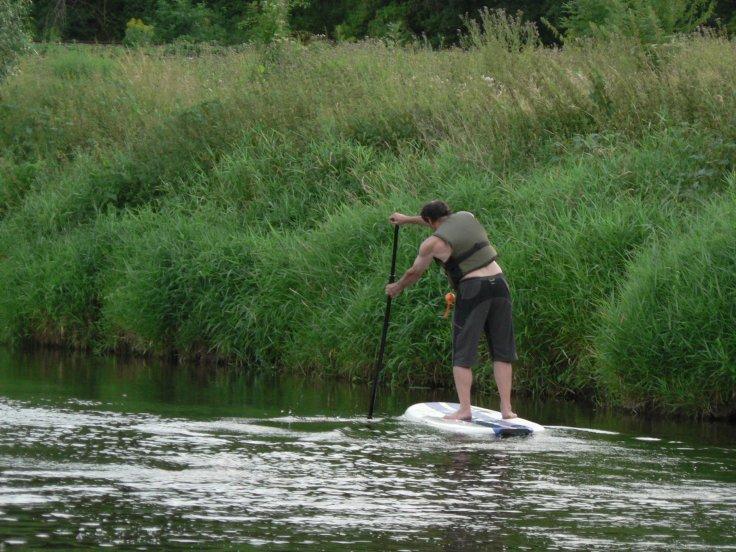 paddling home.
